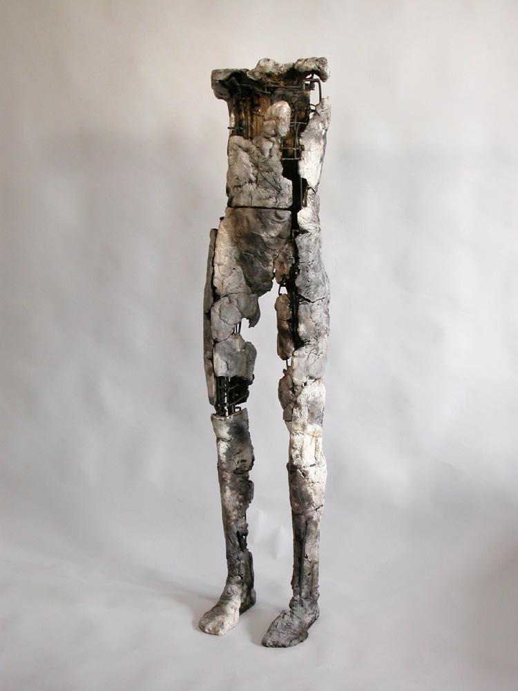 "Untitled Figure. 2004. Ceramic, stainless steel. 59 x 15 x 13"". Darrin Hallowell"