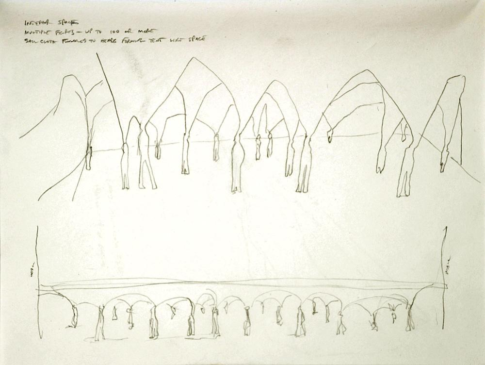 """Untitled (Funnel Installation Drawing). 2005. pencil on paper. 8½ x 11"""". Darrin Hallowell"""