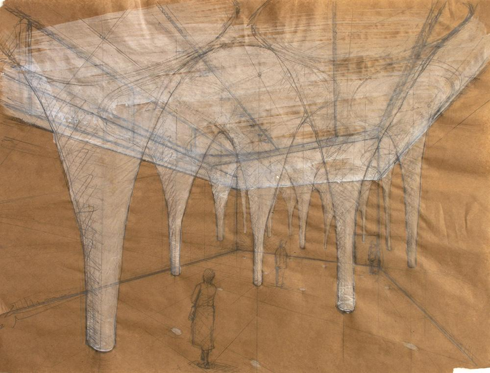 """Untitled (Give and Take Preliminary Drawing). 2010. Charcoal, gouache and pencil on paper. 22 x 30"""". Darrin Hallowell"""